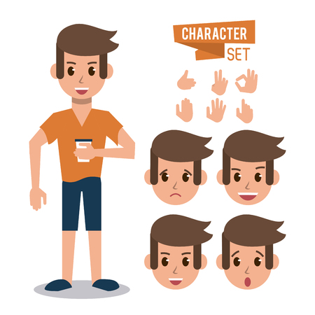 Man character cartoon icon vector illustration graphic design Çizim