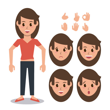 Woman character set icon vector illustration graphic design