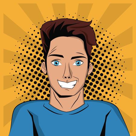 Young man pop art cartoon icon vector illustration graphic design Illustration