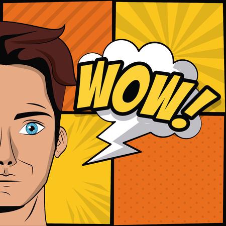 Young man pop art cartoon icon vector illustration graphic design Stock Illustratie