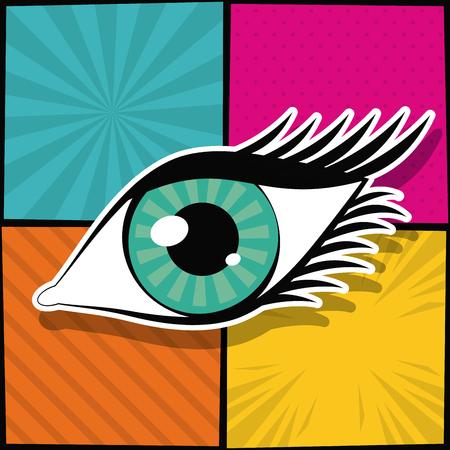 Woman eye pop art icon vector illustration graphic design Illustration
