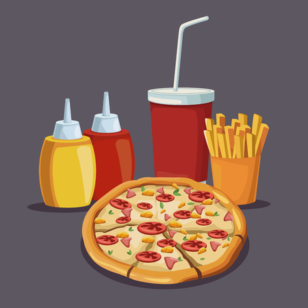 Delicious pizza and french fries icon vector illustration graphic design Illustration