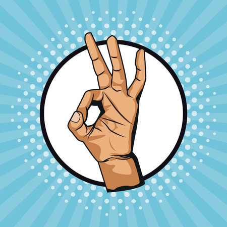 Hand OK symbol pop art icon vector illustration graphic design
