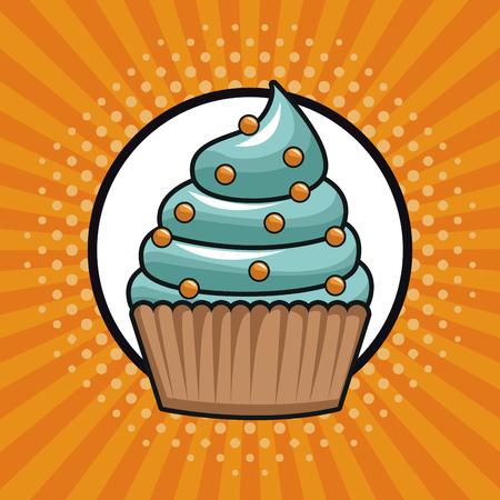 Cupcake pop art icon vector illustration graphic design