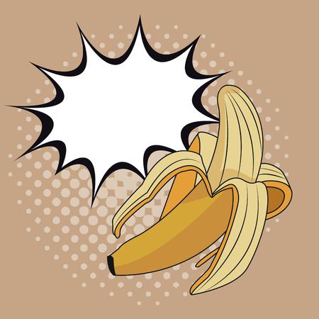 Delicious banana pop art icon vector illustration graphic design