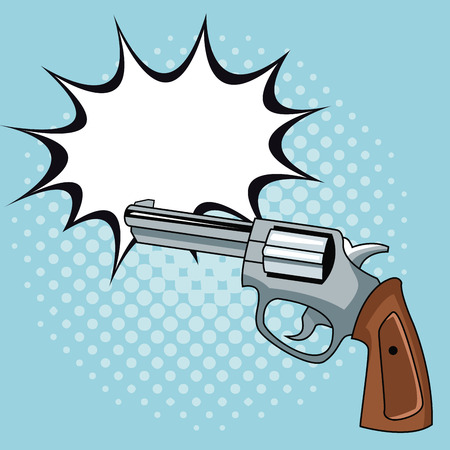 Handgun pop art icon vector illustration graphic design