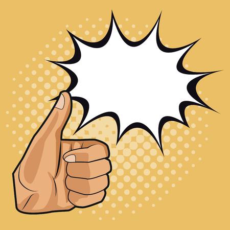 Thumb up pop art icon vector illustration graphic design Illustration