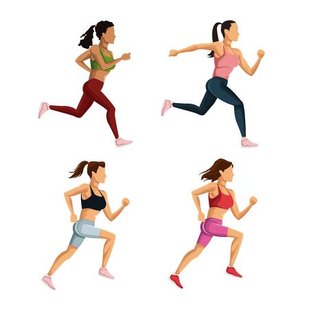 endurance run: People running icons icon vector illustration graphic design