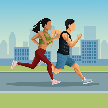 Marathon in the city cartoon icon vector illustration graphic design