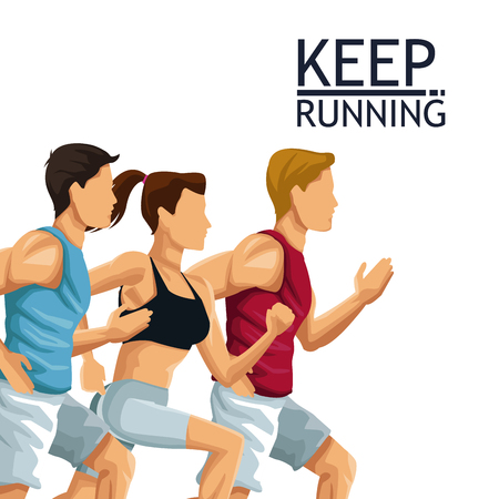 People running fitness lifestyle icon vector illustration graphic design