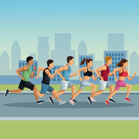 市漫画アイコン ベクトル イラスト グラフィック デザインでマラソン