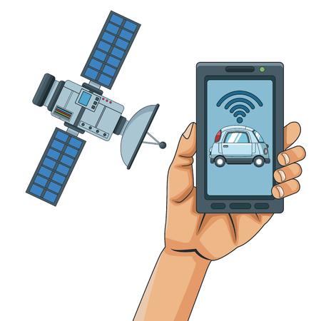 Smart car smarthphone app icon vector illustration graphic design