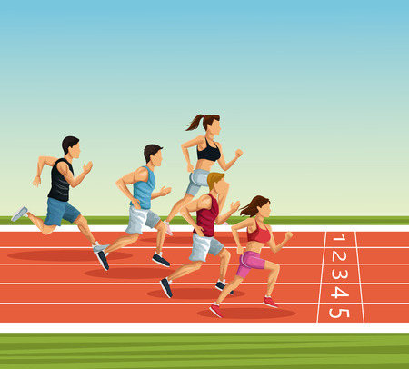 People on running track icon vector illustration graphic design