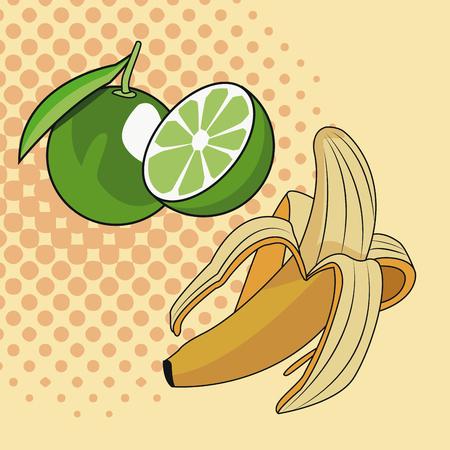 Lemons and banana pop art icon vector illustration graphic design