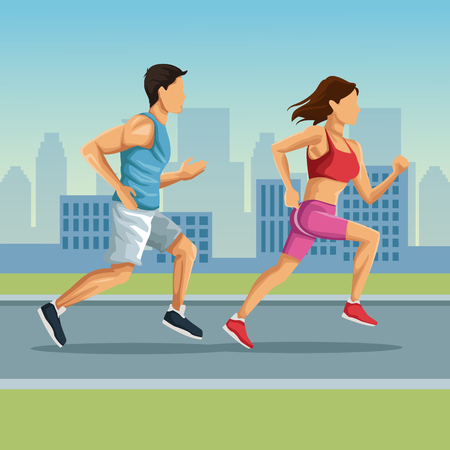 Marathon in the city cartoon icon vector illustration graphic design 版權商用圖片 - 90255519