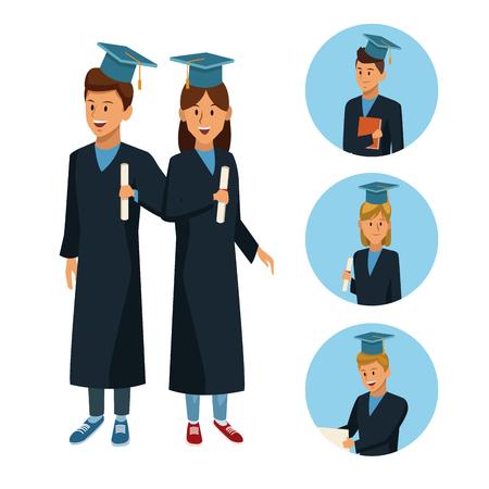 Students in robe cartoon icon vector illustration graphic design