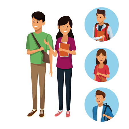 Young students cartoon icon vector illustration graphic design Vectores