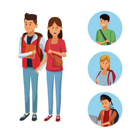 Young students cartoon icon vector illustration graphic design Vettoriali