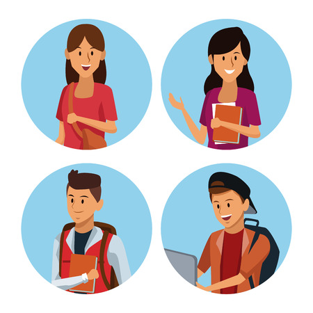 Young students cartoon icon vector illustration graphic design Ilustração