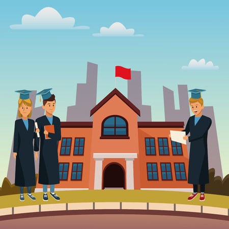 Young students in highschool building icon vector illustration graphic design