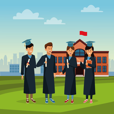 Young students in high school building icon. Illustration