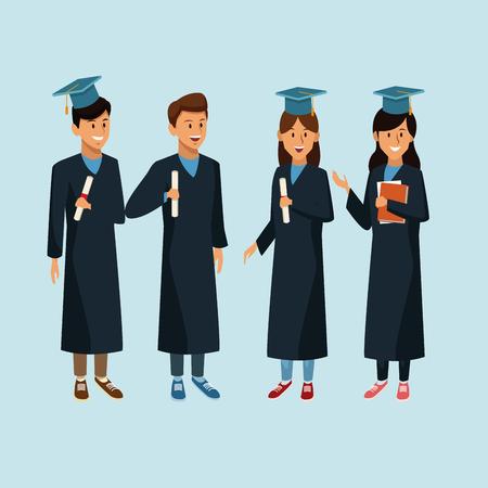 Students in robe cartoon icon. Illustration