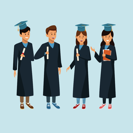 Students in robe cartoon icon. Illustration