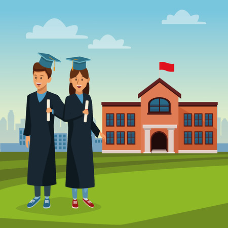 Student in robe on high school icon vector illustration graphic design