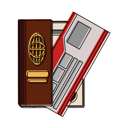 Passport with flight tickets icon vector illustration graphic design