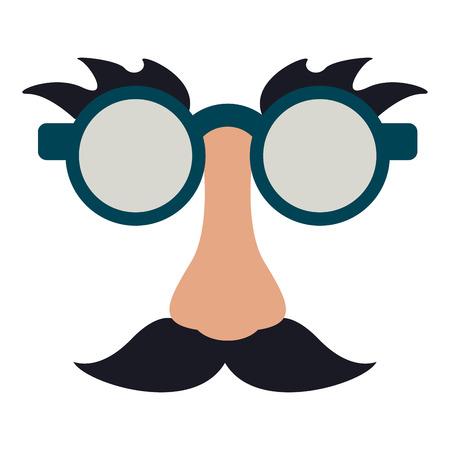 メガネと口ひげ面白いマスク アイコン ベクトル イラスト グラフィック デザイン