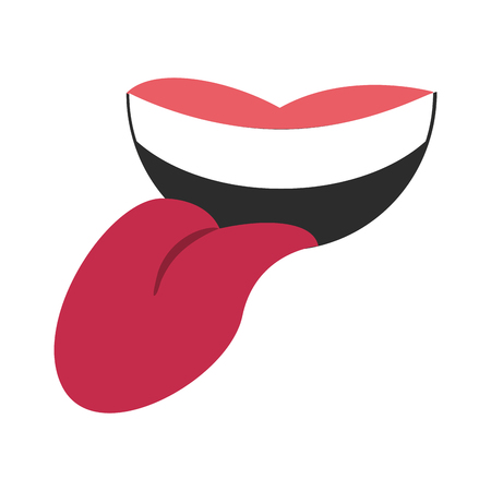 Mouth with tongue out cartoon icon vector illustration graphic design