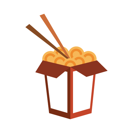 Chinese food with chopstick icon vector illustration graphic design