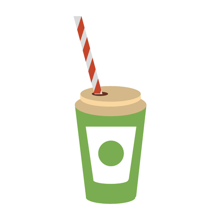 Soda cup with straw icon vector illustration graphic design