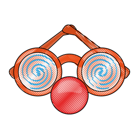 Glasses and red nose mask icon vector illustration graphic design Illustration