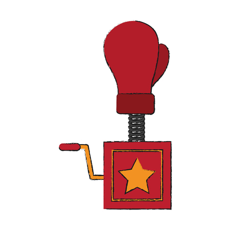 boxing glove surprise joke icon vector illustration graphic design
