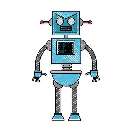 Cute robot cartoon icon vector illustration graphic design
