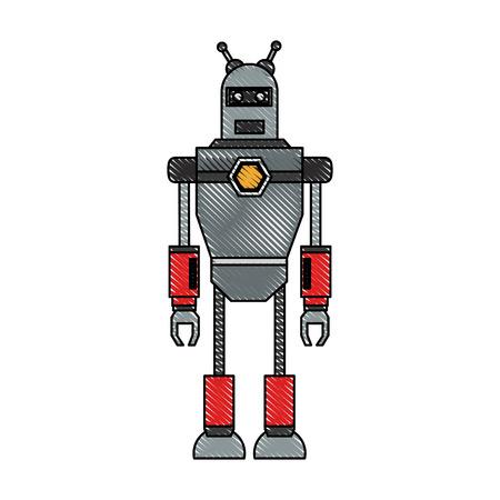 귀여운 로봇 만화 아이콘 벡터 일러스트 그래픽 디자인 일러스트