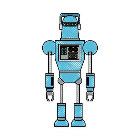 Cute robot cartoon icon vector illustration graphic design