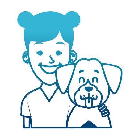Girl with dog cartoon icon vector illustration graphic design