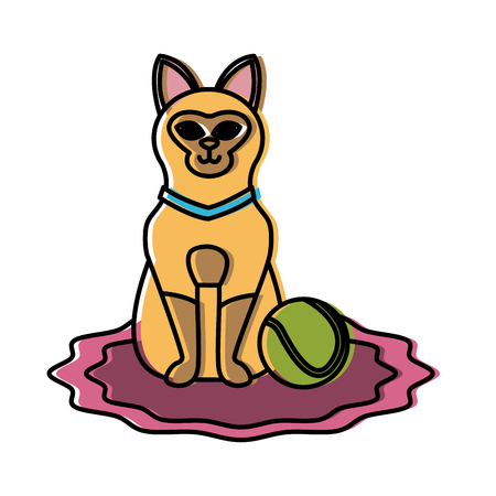 Cute cat with tennis ball icon vector illustration graphic design Vectores