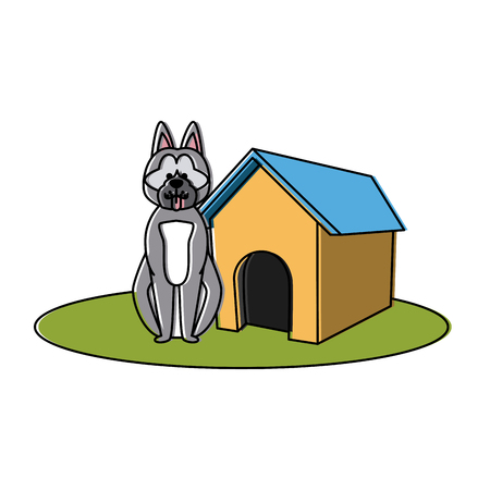 Dog house cartoon icon vector illustration graphic design Illustration