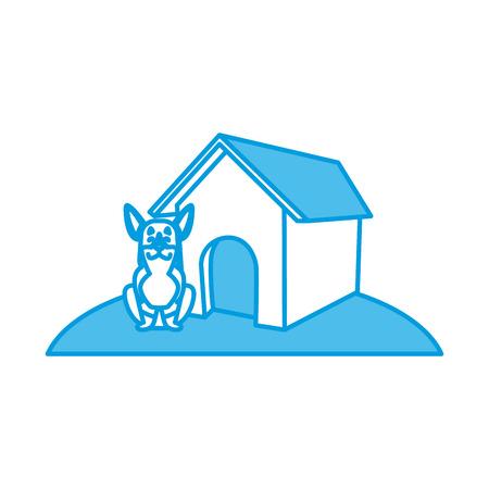 Dog with dog house cartoon icon  illustration