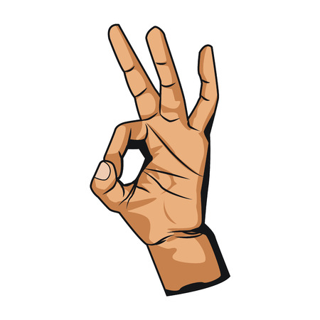 Ok hand symbol pop art icon vector illustration graphic design