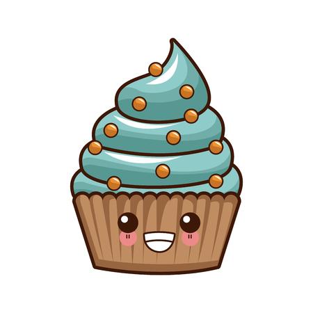 Cupcake delicious dessert  cute cartoon vector illustration