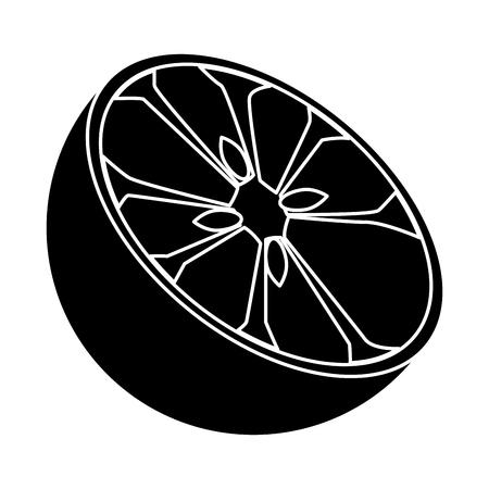 Orange half cut icon vector illustration graphic design