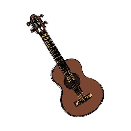 Acoustic guitar music instrument icon vector illustration graphic design