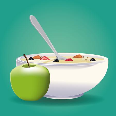 Progettazione grafica dell'illustrazione sana di vettore dell'icona dell'alimento della farina d'avena Archivio Fotografico - 90417298