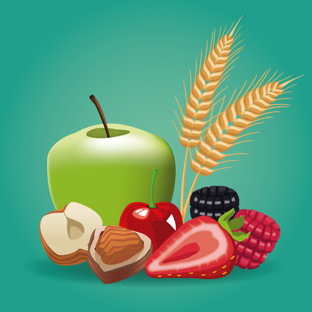 Fruits and nuts icon vector illustration graphic design