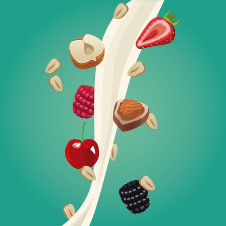 Progettazione grafica dell'illustrazione di vettore dell'icona dell'alimento della farina d'avena sana Archivio Fotografico - 90417299