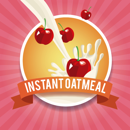 Instant oatmeal label icon vector illustration graphic design